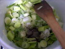 Add salt and pepper and fry the mix.